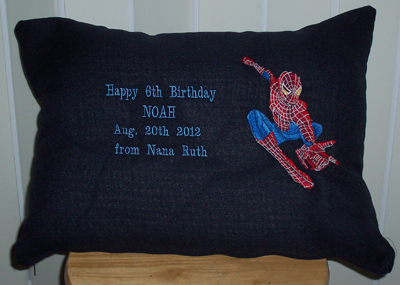 Spiderman embroidered pillow design