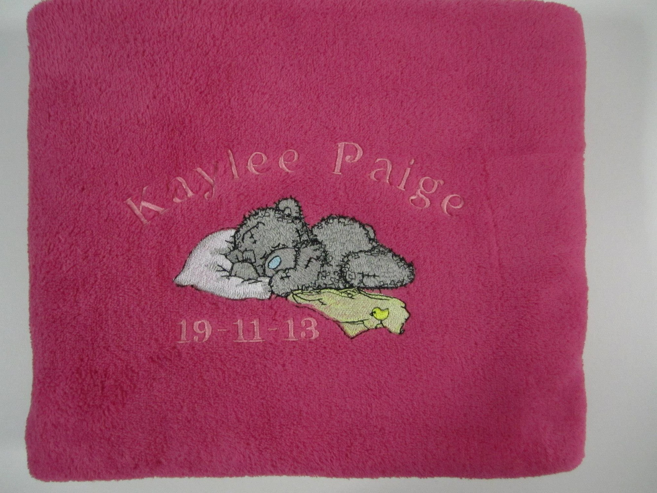 Tatty teddy embroidred on bath towel for girl