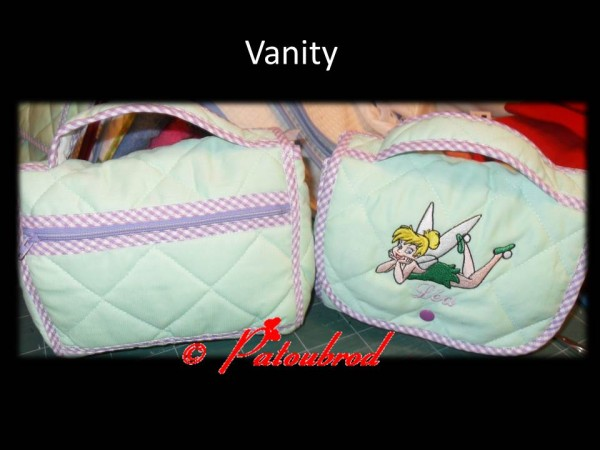 Embroidered textile bag with Tinkerbell
