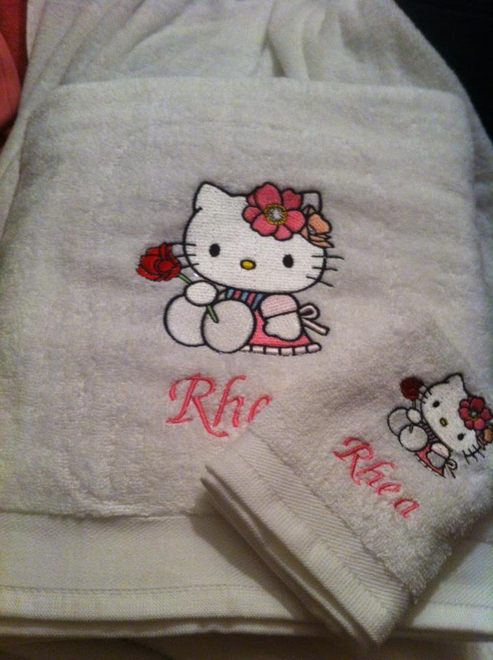 Hello Kitty with Rose embroidered on white bath towel