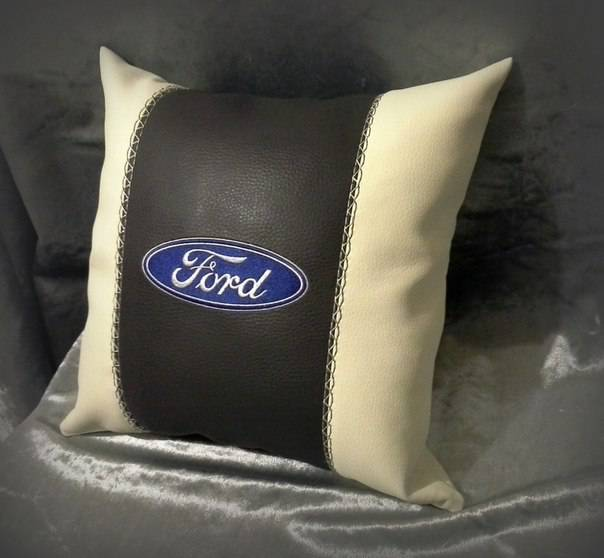 Embroidered pillow with Ford logo