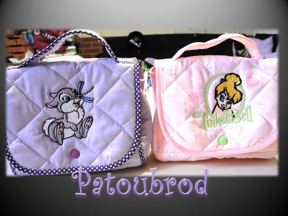Embroidered bags with bunny abd fairy