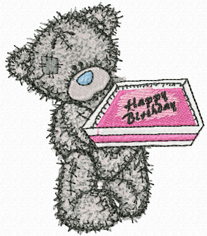 Teddy Bear happy birthday machine embroidery design