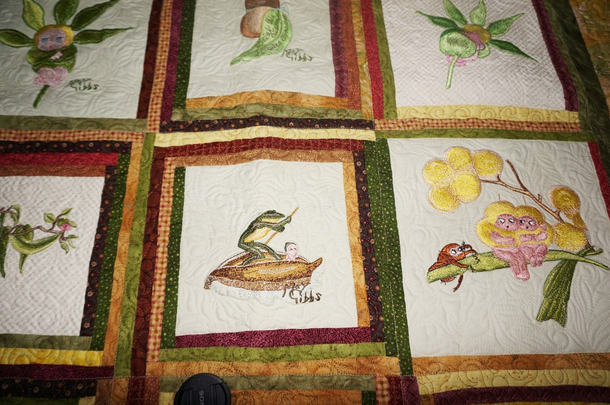 Quilt with May Gibbs embroidery designs