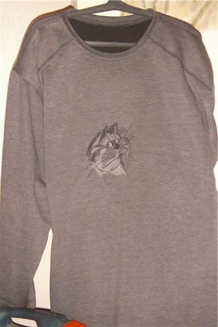 Embroidered Smoking cat design on shirt