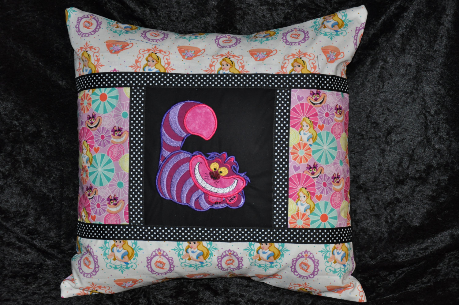 Cheshire cat embroidered toile decorative home dec pillow