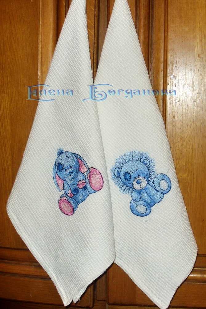 Blue nose friends elephant and lion embroidered on kitchen towel