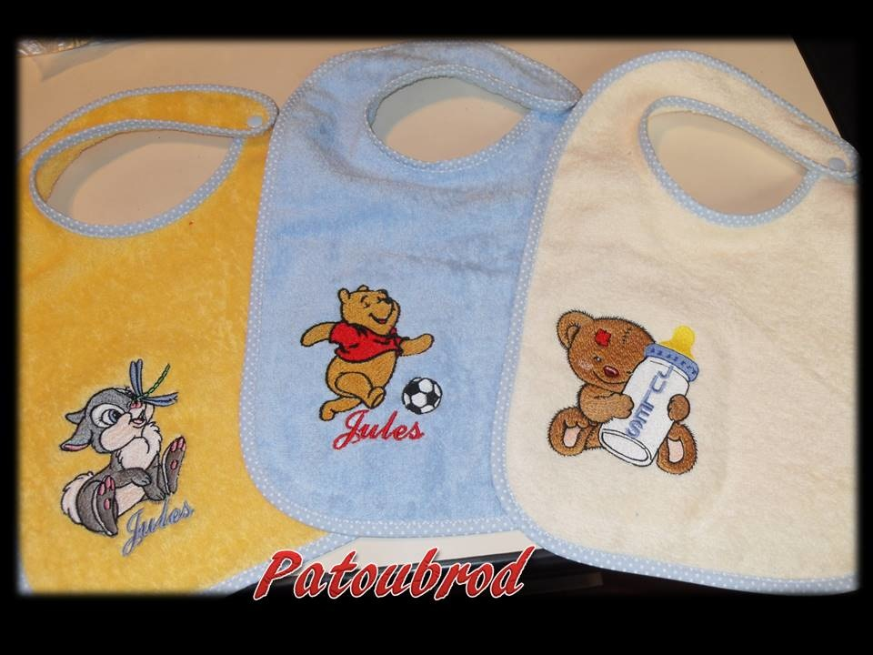 Disney heroes on embroidered baby bibs