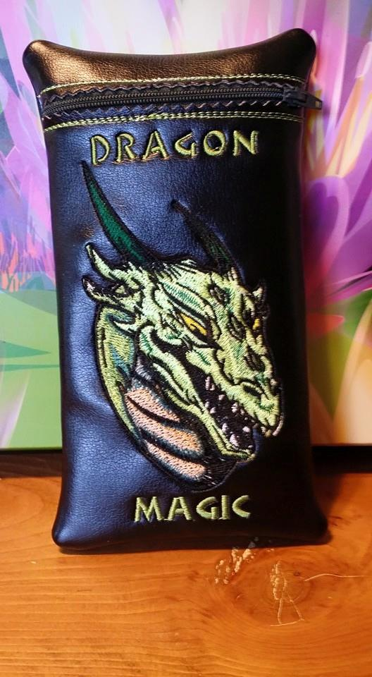 Valley dragon embroidered on small leather black bag