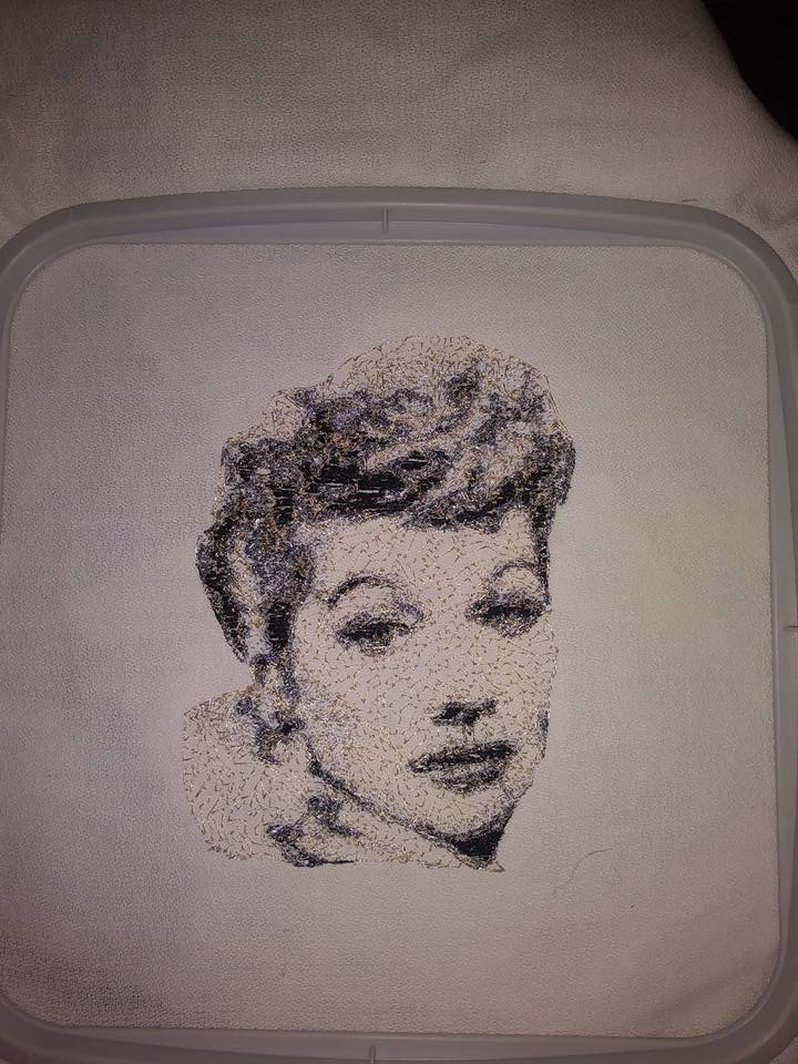 In hoop Lucille Ball photo stitch free embroidery design