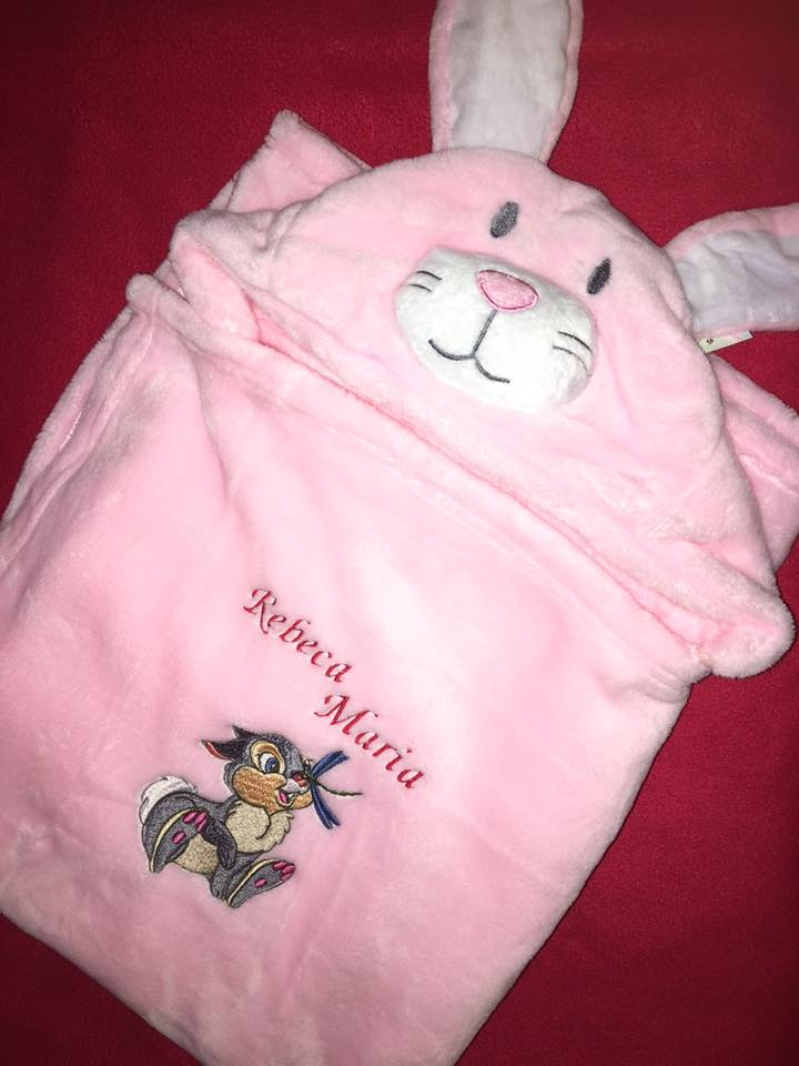 Baby bag with Thumper embroidery design