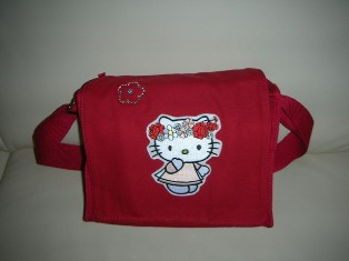 Hello Kitty spring design on embroidered red bag