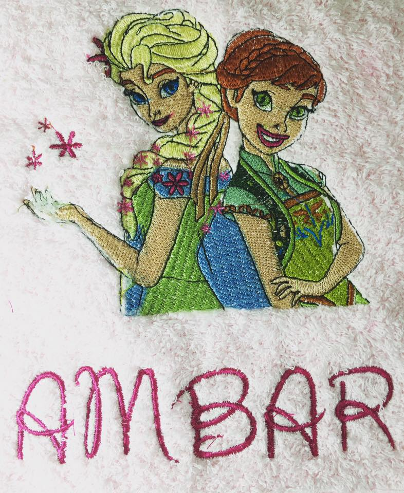 Sping in Arendelle design on towel embroidered