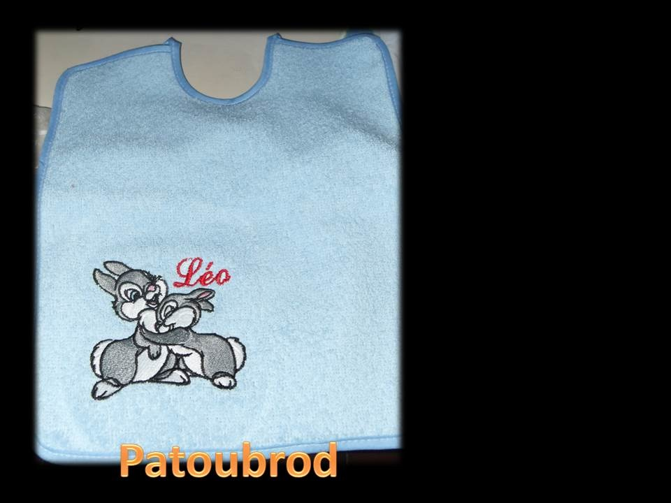 Embroidered Bambi I love you design on bib