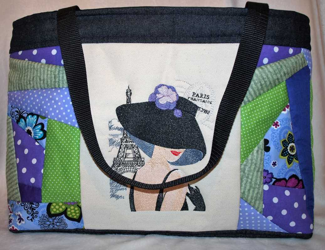 stylish woman bag with french coquette embroidery design