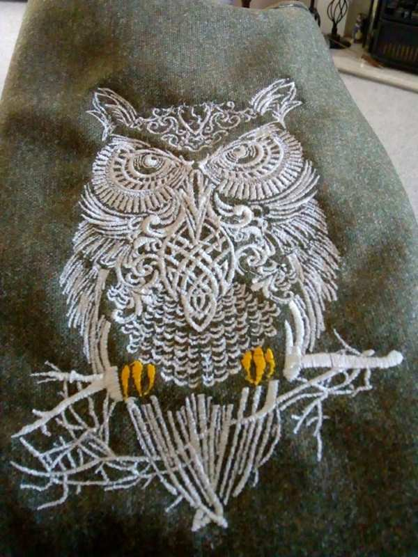 Embroidered owl design
