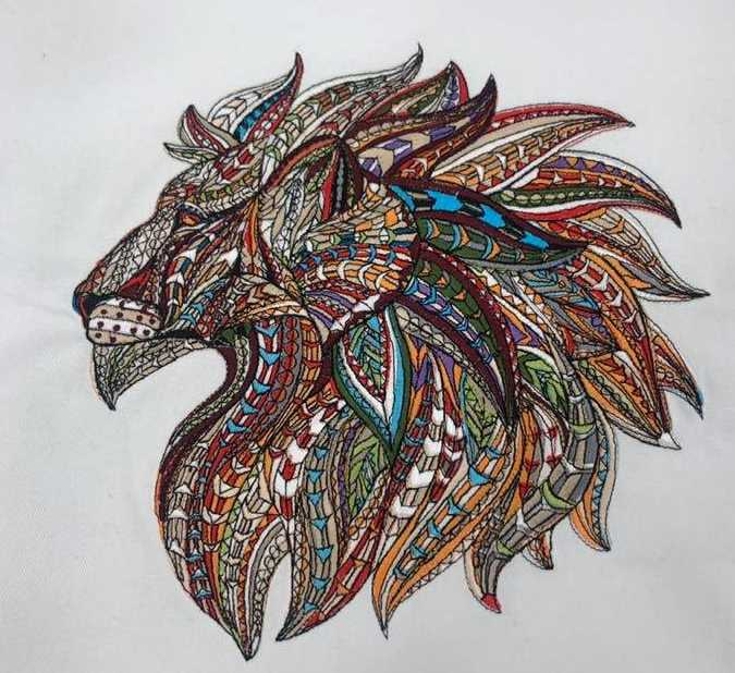 Mosaic lion embroidered design