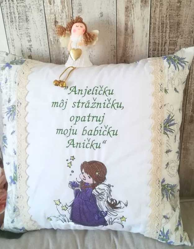Cushion with Christmas star angel embroidery design