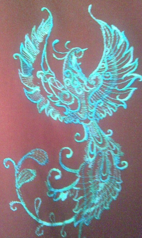 Blue variant of Fantastic bird machine embroidery design