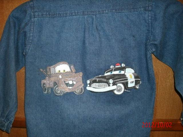 Embroidered Mater car and Sheriff designs on jacket