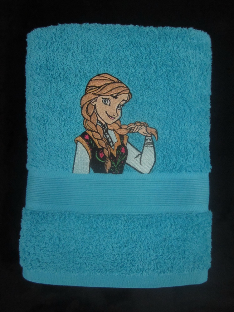 Anna coquette design on towel embroidered