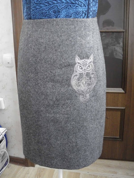Embroidered owl on skirt