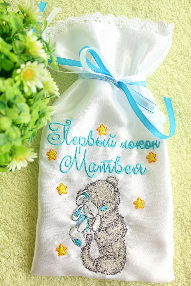 Small bag for the first curl embroidered with tatty teddy design
