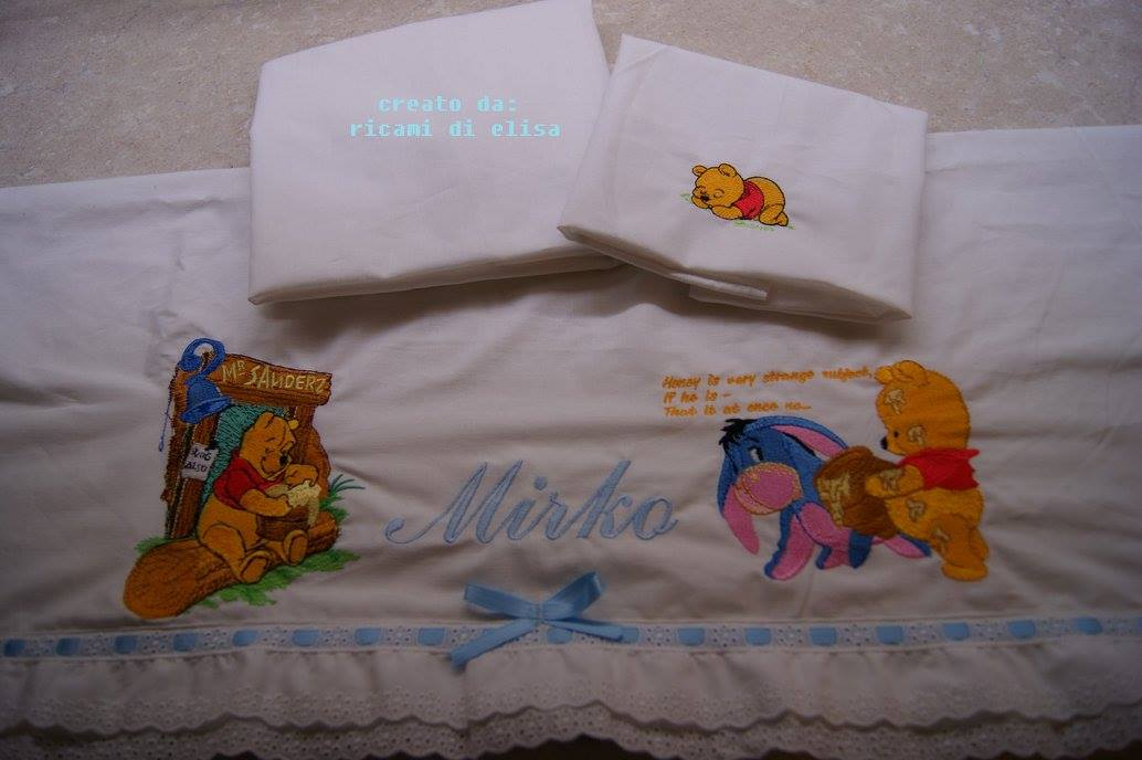 Eeyore and his friend Pooh embroidered