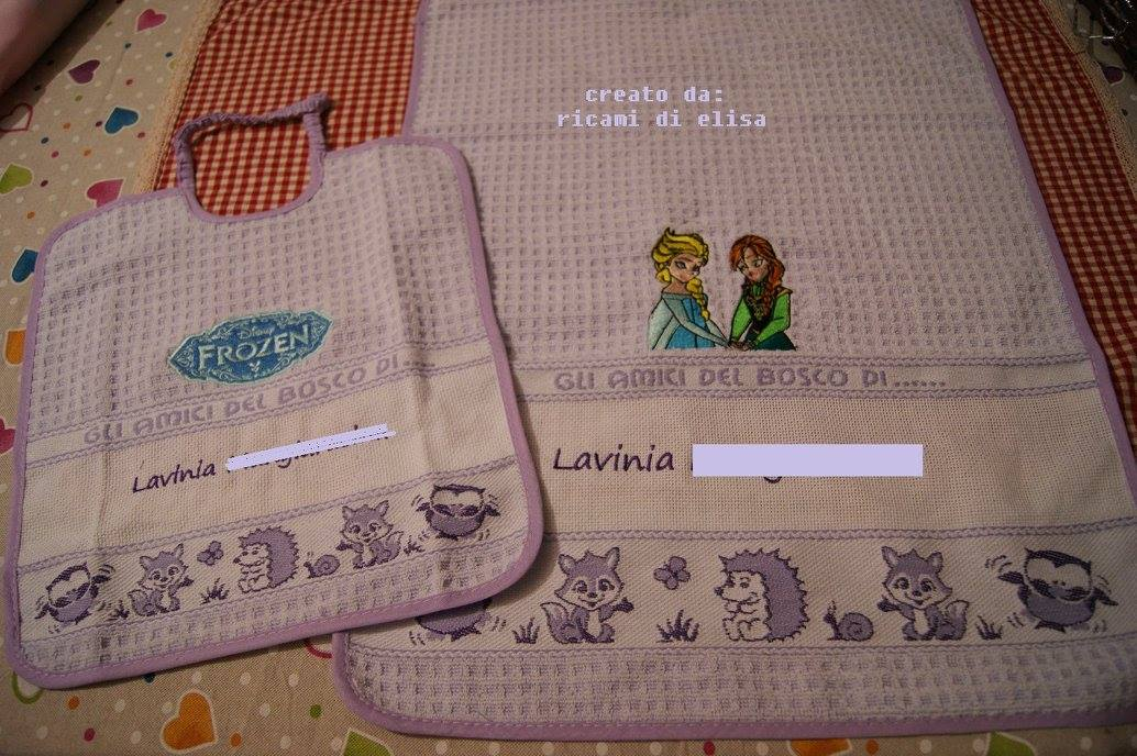 Frozen sisters embroidered on baby bib and towel