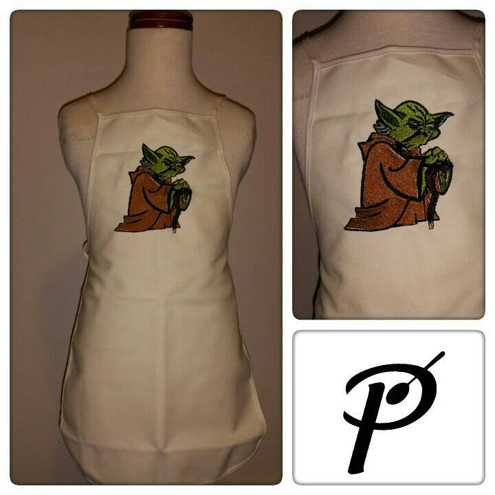 Yoda Thinks embroidery design on apron