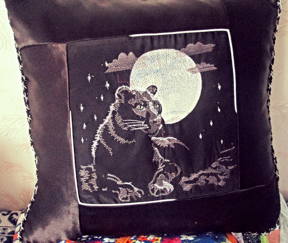 Embroidered pillowcase with panther