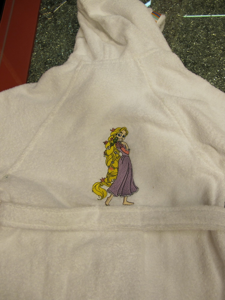Embroidered Tangled beautiful design on bathrobe
