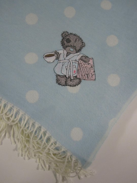 Table cloth embroidered with cute teddy bear with cup of tea