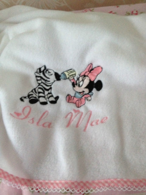 Minnie Mouse and zebra design embroidered