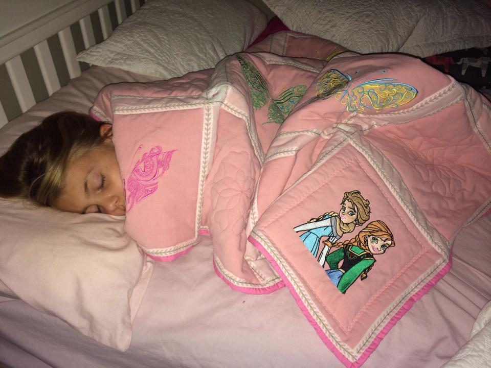 Blanket with Frozen sisters embroidery design