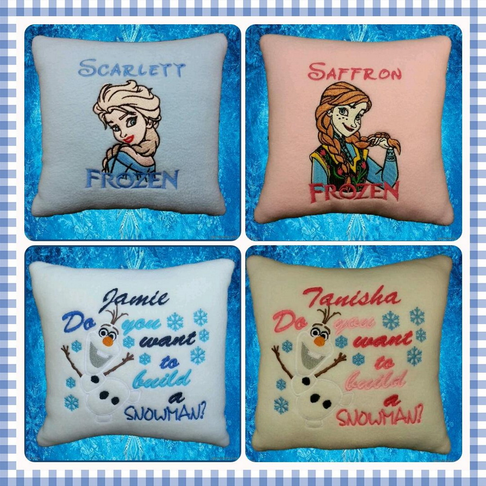 Frozen designs embroidered on pillowcases