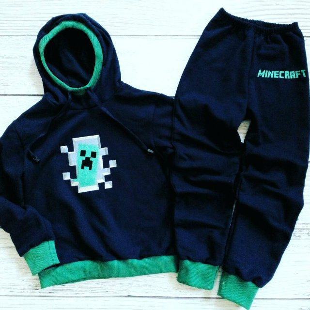 Embroidered Minecraft Creeper in your door design on hoodie and pants