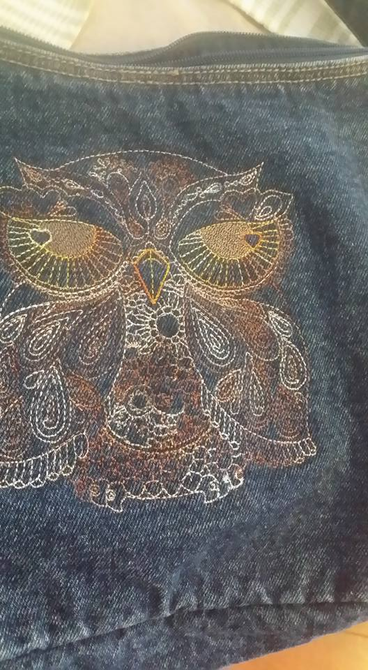 Owl redwork design on bag embroidered