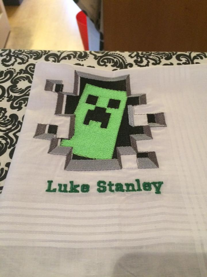 Minecraft Creeper in your door design embroidered on towel