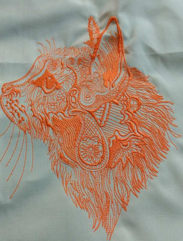 Cat sketch embroidery design