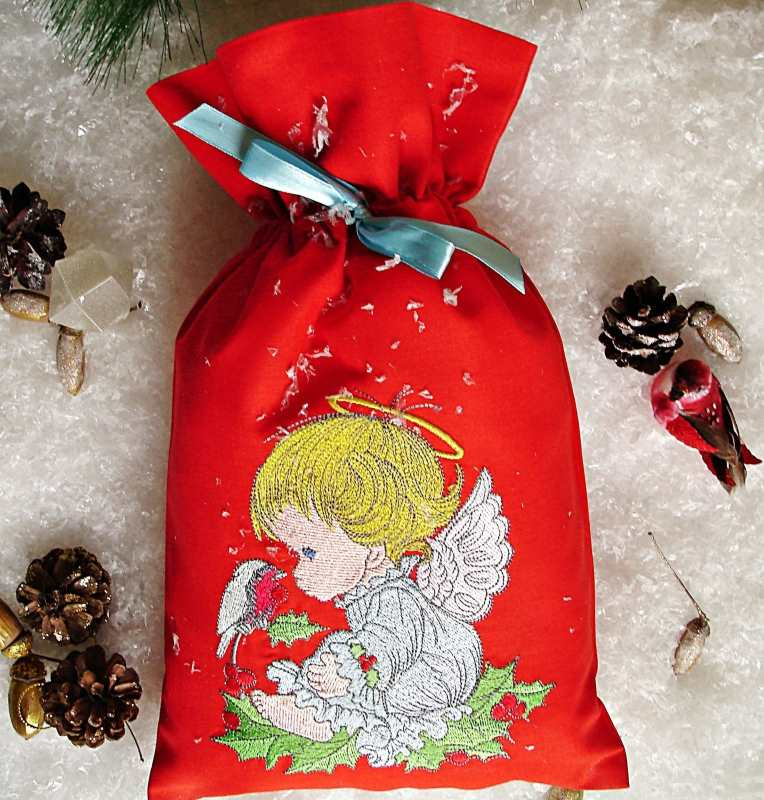 Christmas gift bag with Angel embroidery design