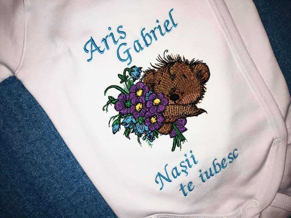 Baby outfit with teddy bear embroidery design