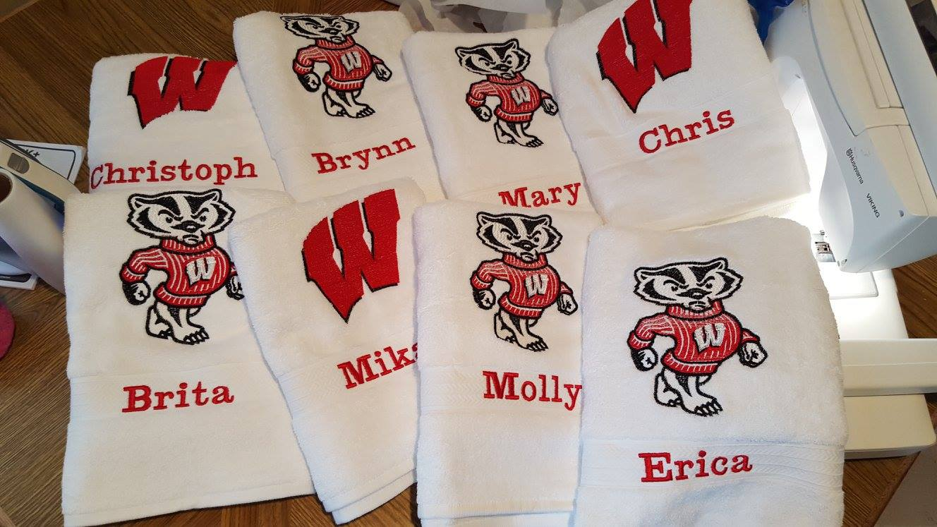 Wisconsin Badgers designs on towels embroidered