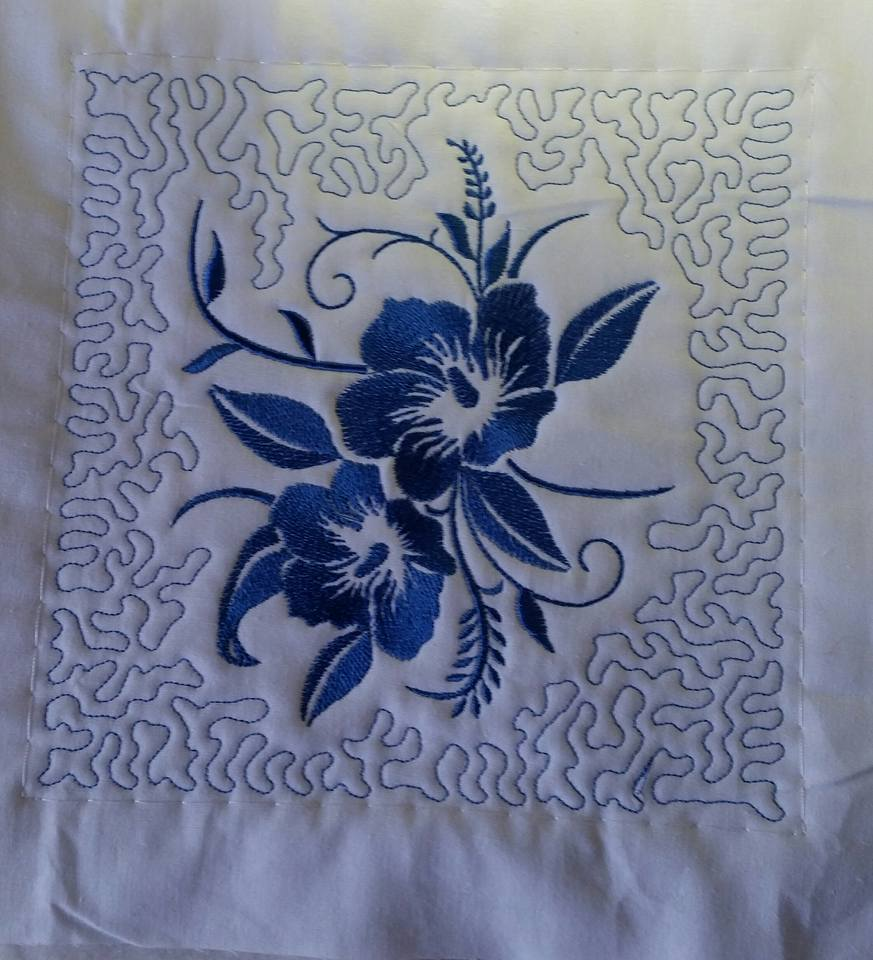 Embroidered part of quilt
