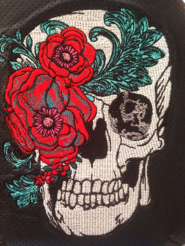 Modern skull embroidered design