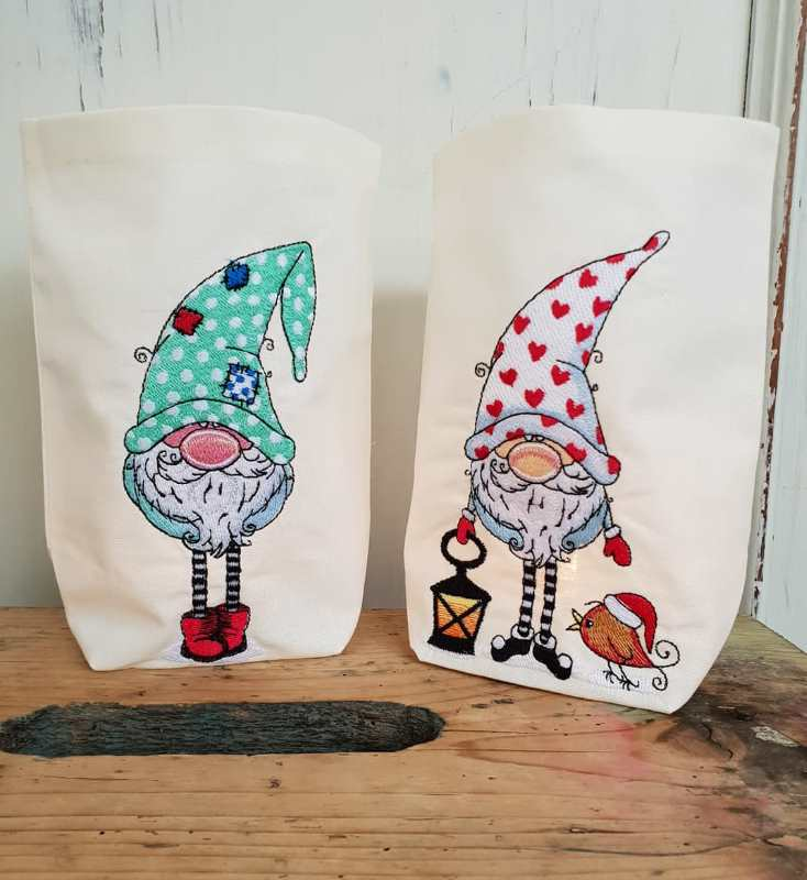 Christmas packages with Gnomes embroidery designs