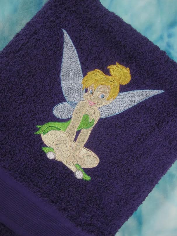 Tinkerbell embroidered towel