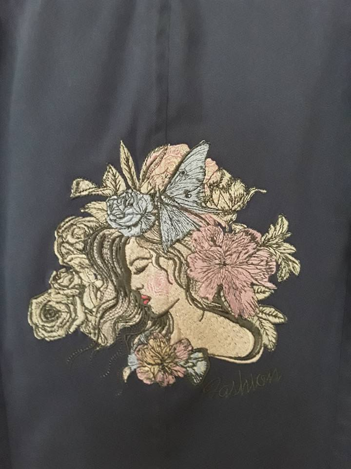 Fashionable girl embroidery design