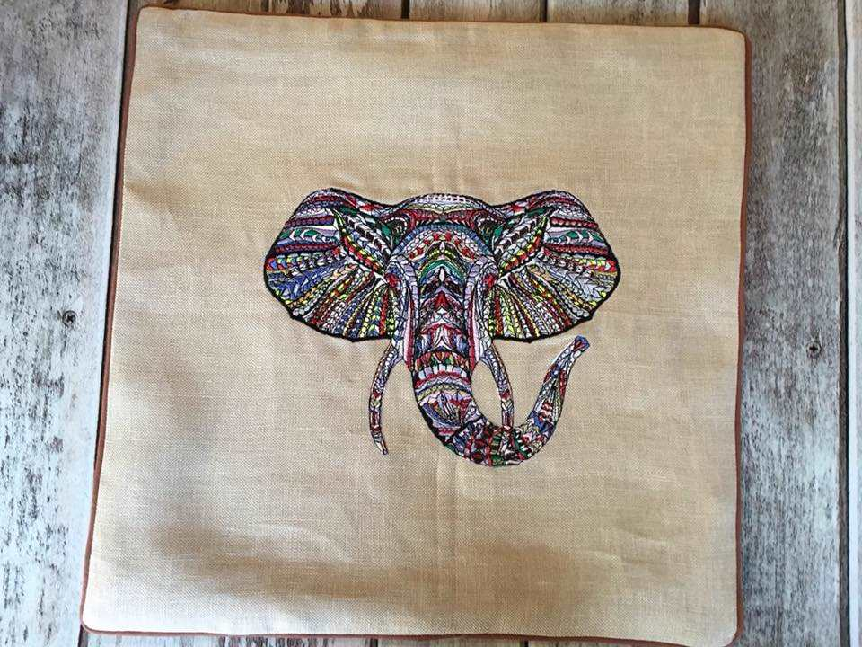 Pillow case with mosaic elephant embroidery