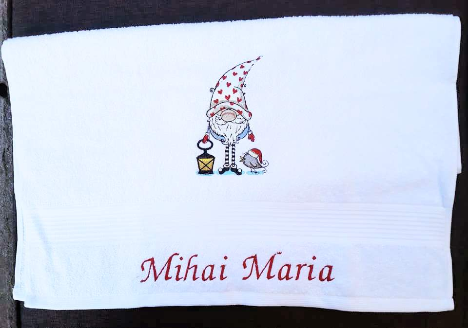 Bathrom towel with Christmas Gnome embroidery design